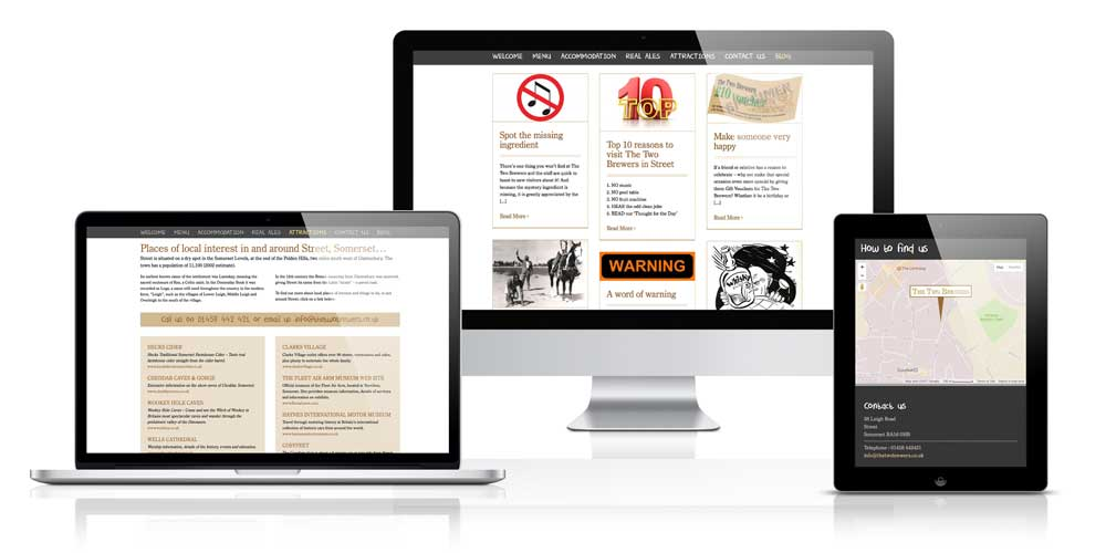 Pub (Street, Somerset) website - designed in Wordpress