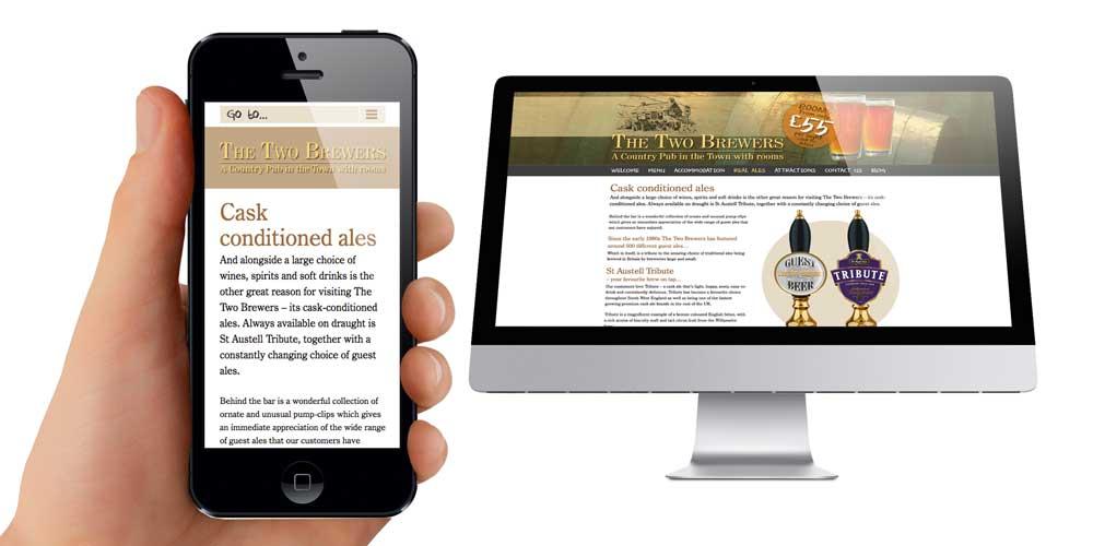 Mobile friendly website design for Street based pub
