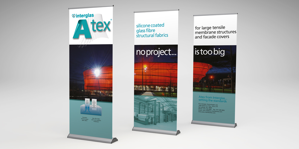 Atex pop-up display stand and roller banners | Graphics & Website ...