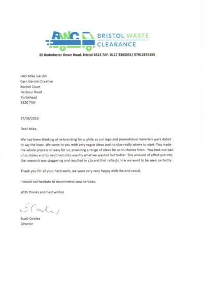 Testimonial from Bedminster rubbish company