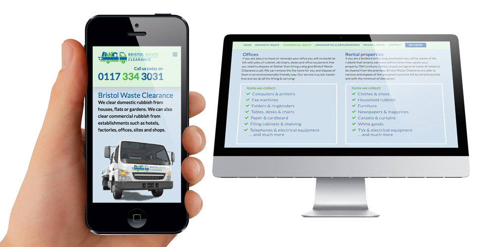 Bedminster clearance company, mobile friendly website design