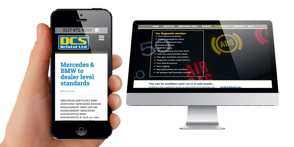 Mobile phone website design - Bristol garage